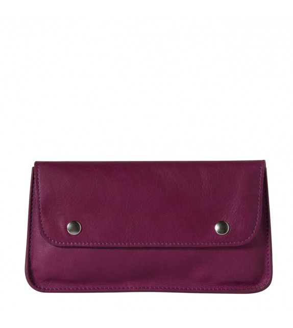 Portefeuille Vintage - Fuchsia - 100% Cuir