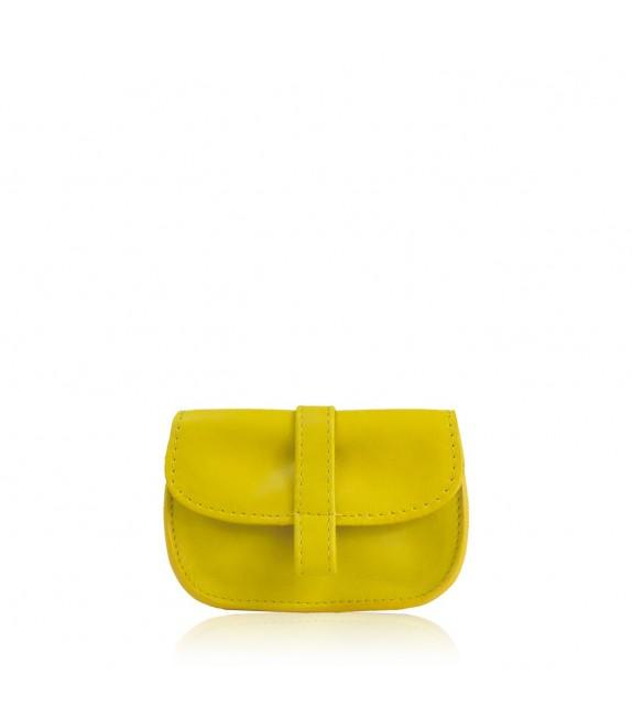 Porte Monnaie EMA Jaune - Femme - 100% cuir