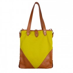 Sac HOBO M - Moutarde - Toile et Cuir