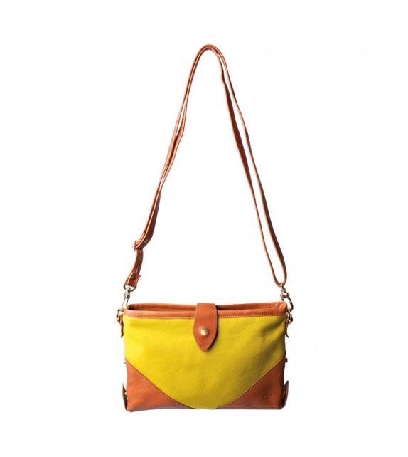 Sac HOBO XS - Moutarde - Toile et Cuir