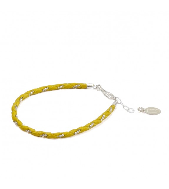 Bracelet Simple - Jaune/Argent - Cuir