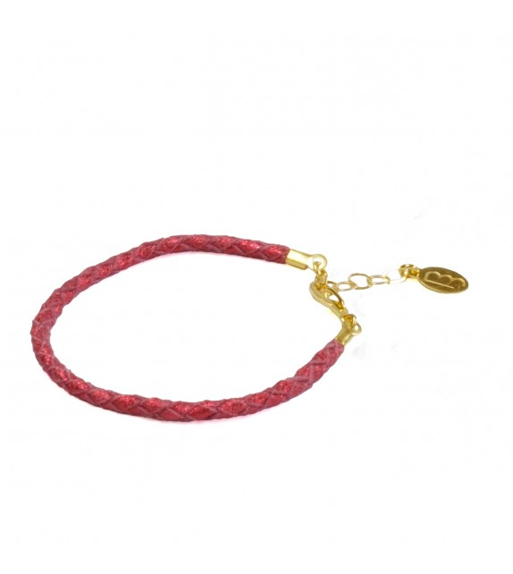 Bracelet Simple - Rouge Brillant - Cuir
