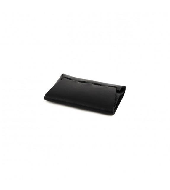 Porte-carte - Sans couture - Noir - 100% cuir